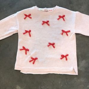 Zara blush pink sweater with pink bows